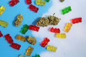 Marijuana Edibles. Cannabis Edibles. THC Infused Gummy Bears. CBD Infused Gummy Candies. Medical Can poster