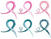 pic of gender  - Set of six breast cancer and ovarian cancer ribbons in watercolor - JPG