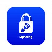 Signaling Icon Blue Vector Isolated On White Background poster