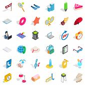 Entertainment Icons Set. Isometric Style Of 36 Entertainment Icons For Web Isolated On White Backgro poster