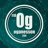 Oganesson Chemical Element. Sign With Atomic Number And Atomic Weight. Chemical Element Of Periodic  poster