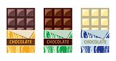 Vector Collection Of Opened Dark Chocolate, Milk Chocolate And White Chocolate Bars With A Piece Of  poster
