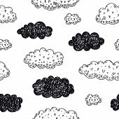 Vector Seamless Doodle Clouds Pattern. Weather Forecast, Rainy Day Background. Sketch, Childish Cute poster
