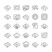 Cloud Data Line Icons. Set Of Hosting, Computing Data And File Storage Technology Icons. Archive, Do poster