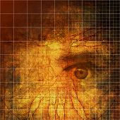 Quest for knowledge - Vitruvian man and a staring human eye in a conceptual abstact image.