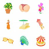Interesting Party Icons Set. Cartoon Set Of 9 Interesting Party Icons For Web Isolated On White Back poster