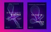 Electronic Fest. Dynamic Gradient Shape And Line. Trendy Concert Banner Set. Neon Electronic Fest Fl poster