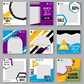 Geometric Shapes Poster Set With Modern Hipster And Memphis Background Colors. Templates For Placard poster