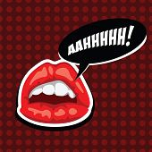 Female Mouth With Speech Bubble. Red Lips And Comic Speech Bubble. Beautiful Girl Lips. Open Mouth.  poster