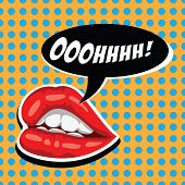 Woman Red Lips And Comic Speech Bubble. Female Mouth With Speech Bubble. Attractive Girl Lips And Op poster