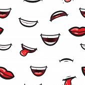 Pattern Smiling Lips, Mouth With Tongue, White Toothed Smile And Sad Expression. Lips And Mouth Expr poster