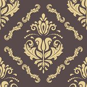 Classic Seamless Vector Pattern. Damask Orient Ornament. Brown And Golden Classic Vintage Background poster