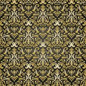 Classic Seamless Vector Black And Golden Pattern. Damask Orient Ornament. Classic Vintage Background poster