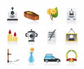 stock photo of obituary  - funeral and burial icons  - JPG
