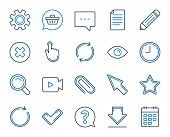 Document, Time, Calendar Line Icons. Question, Chat And Pencil Icons. Cogwheel, Download Calendar Do poster