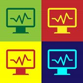 Color Computer Monitor With Cardiogram Icon Isolated On Color Backgrounds. Monitoring Icon. Ecg Moni poster