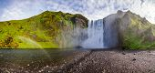 Panoramic view of the Skogafoss, one of the biggest Icelandic waterfalls on the Skoga river, a popul poster