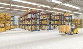 3d render image. industrial machinery at work in a large warehouse full of goods. Industry and logis poster