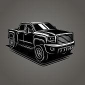 Modern Pickup Truck Vector Illustration. Suv 4x4 Offroad Wehicle poster