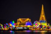 Abstract Background With Defocused Bokeh Of Night Festival In Prasamut Chedi Temple. (prasamut Pagod poster