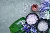Lavender Aromatherapy Spa With Candle And Rock Spa. Thai Spa Relax Treatments And Massage Concrete B poster