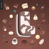 Dessert Font - Letter L - Modern Flat Vector Concept Digital Illustration Of Temptation Font, Sweet  poster