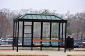 foto of bus-shelter  - A bus stop in a urban area.  ** Note: Slight graininess, best at smaller sizes  - JPG