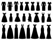 Dress Icon For Women. Vector. Evening, Cocktail, Business Dresses. Black Silhouette Apparel Set Isol poster