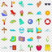 Cool Vacation Icons Set. Cartoon Style Of 36 Cool Vacation Vector Icons For Web For Any Design poster