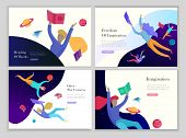 Landing Page Templates Set. Inspired People Flying In Space And Reading Online Books. Characters Mov poster