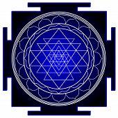 Mandala Sri Yantra Chakra Tantra Spirituality Esoteric Zen Illustration Black Blue poster