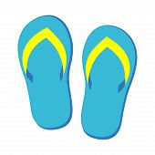 Pair Of Blue Flip Flops Isolated, Vector Illustration Graphic, Footwear For Summer, Pair Of Flipflop poster