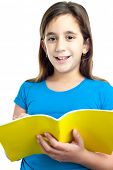 picture of girl reading book  - Beautiful hispanic girl taking notes on a school notebook isolated on white - JPG