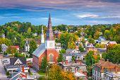 Montpelier, Vermont, USA town skyline at dusk. poster