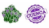 Vector Collage Of Grape Wine Map Of Cuenca Province And Purple Grunge Seal Stamp For Premium Wines A poster