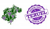 Vector Collage Of Grape Wine Map Of Teruel Province And Purple Grunge Seal For Premium Wines Awards. poster