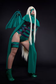 picture of banshee  - girl posing in green cosplay costume anime character - JPG