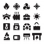 stock photo of furnace  - Heating icons - JPG