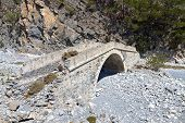 picture of samaria  - Old stone bridge at Samaria gorge of Crete island in Greece - JPG