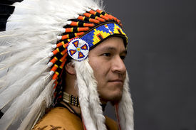 image of indian chief  - Portrait of a native american in a studio - JPG