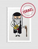stock photo of israel people  - Travel jewish man cartoon israel stamp - JPG