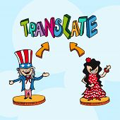 Translation Concept English Spanish People Cartoon.