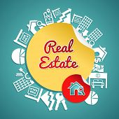 Real Estate Circle, Vintage Text House Magnifying Glass Symbols.