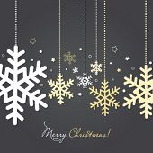 picture of congratulations  - Christmas and New Year card with snowflakes - JPG