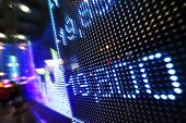 stock photo of stock market data  - Stock market data on LED display - JPG