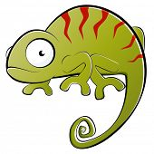 stock photo of chameleon  - funny cartoon chameleon - JPG