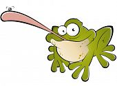 funny cartoon frog catching fly