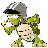 stock photo of carapace  - funny cartoon turtle with helmet - JPG