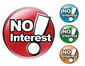 stock photo of debt free  - Choose from four different colored No Interest icons - JPG