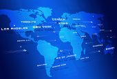 foto of transcontinental  - abstract concept global aviation directions blue business background - JPG